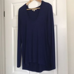 Express One Eleven Hooded Cotton Modal Navy Tunic